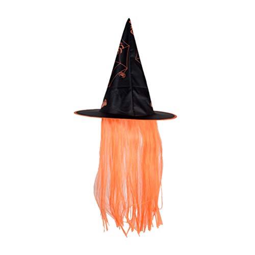 Amosfun Sombrero Halloween Bruja Viste Gorras Peluca