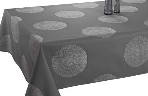 Le linge de Jules Nappe Anti-Taches Cercles Gris foncé - Taille : Rectangle 150x300 cm