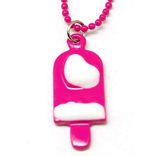 Emaillierter Anhänger für Kinder & 40,64 cm Kugelkette - Rosa Eislolly