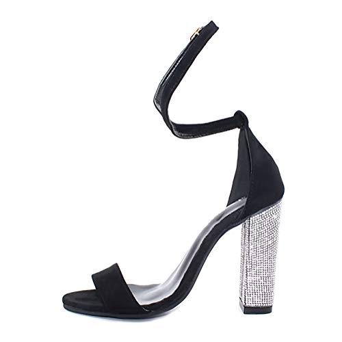 Minetom Damen Sandaletten High Heels Bling Blockabsatz Peep Toe Sandalen Knöchel Schnalle Abend Party Freizeit Hochzeit Sommer Schuhe (Schwarz, Numeric_43)