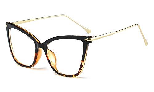 FEISEDY New Oversized Cat Eye Glasses Frame Non prescription Eyewear for Women B2460 (Black-Leopard, 53)