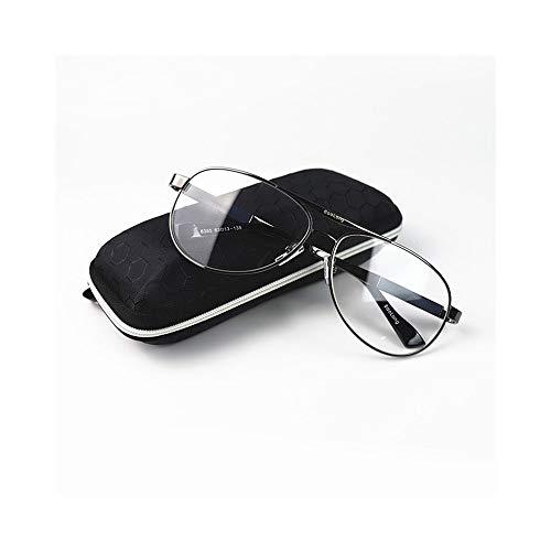 JKHOIUH Lentes de Sol de Moda para Hombres, Lentes de Cristal, Gafas de protección UV Unisex, lectores (Color : Negro)
