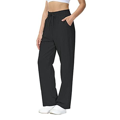 HMIYA Jogginghose Damen Baumwolle Freizeithose Yogahose Sporthose mit Taschen (Schwarz XL)