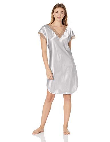 Shadowline Women's Size Charming Satin Chameuse Sleepshirt, Silver, 2X Plus