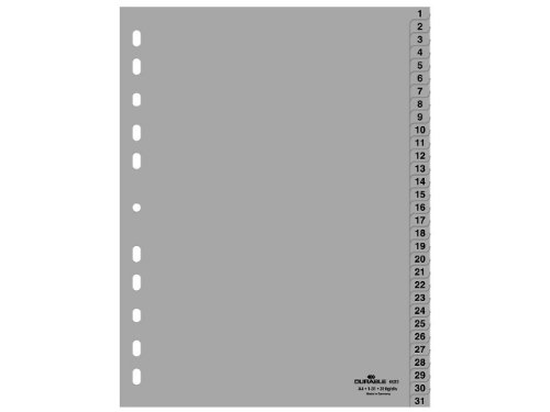 Durable 652310 Zahlenregister (A4, geprägte Taben 1-31, PP volldeckend) 10 Stück grau