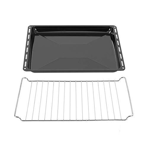 ICQN 455 x 375 x 30 mm Gitter Backblech Set | Passend für Bosch Siemens Neff Constructa | Emailliert | Fettpfanne | Verchromt Backofenrost und Emaille Backblech für Backofen | Grillrost 45,5 x 37,5 cm