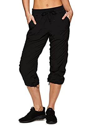 RBX Active Women's Lightweight Body Skimming Drawstring Zumba Pant,Black,Small
