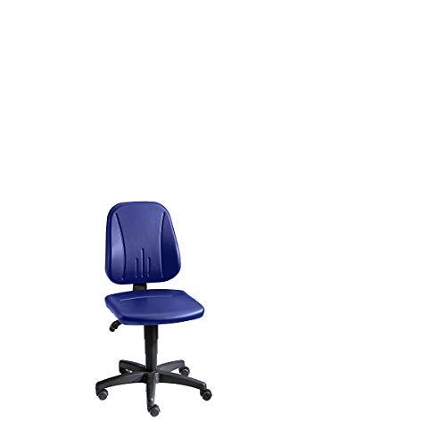 bimos Arbeitsdrehstuhl mit Gasfeder-Höhenverstellung - Kunstlederbezug - blau, mit Rollen - Arbeitsdrehstuhl Arbeitsstuhl Drehstuhl Stuhl Universalstuhl