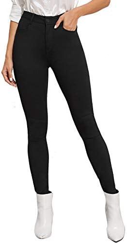 SweatyRocks Women s Casual Wash Button High Waist Skinny Denim Jeans Black M product image