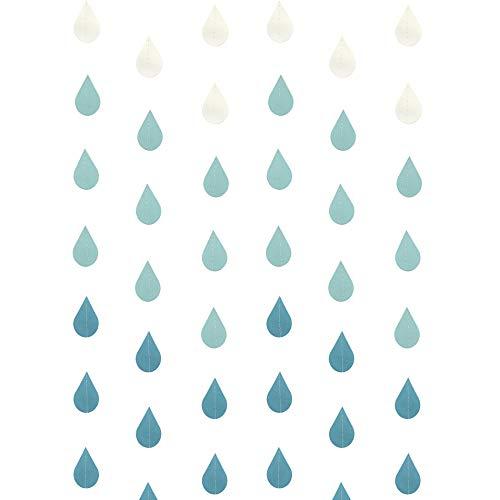 AUEAR Raindrop Garland Blue Paper Raindrop Garland Decorations for Nursery Decor April Showers Baby Shower