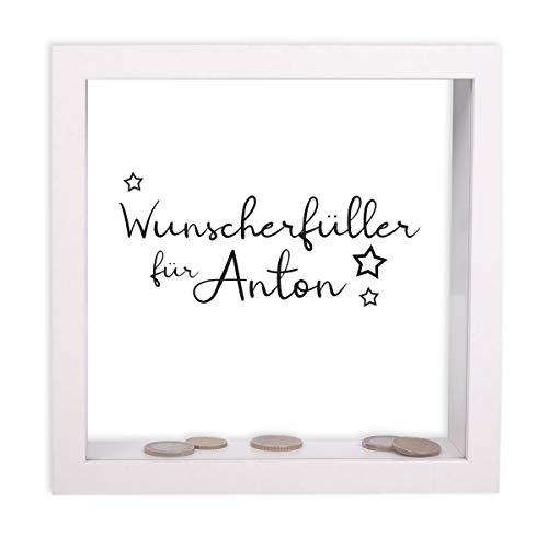 FORYOU24 Bilderrahmen-Spardose zum Geburtstag personalisiert Motiv 05 mit Druck des Namens Geburtstagsgeschenk Geldgeschenk Weiss 20x20x5cm
