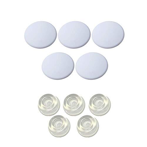 Set di 5 pomelli in silicone bianco e 5 cuscini rotondi trasparenti per parete e protezione da parete per maniglia, protezione da parete per porta, paraurti in gomma, 10 pezzi