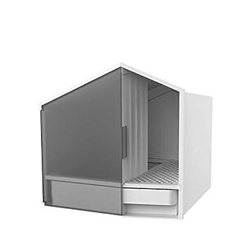 LF stores Toilette Chat Bol pour litière pour Chats Grand Espace Fournitures pour Animaux de Compagnie Forme de Toilette pour Chat Semi-fermée Pot pour Chat Unique Chat Maison de Toilette
