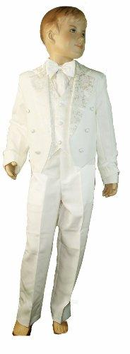 Costume de smoking 5 pièces avec dos en forme de queue crème – Comprend un gilet, une veste avec queue, un pantalon, un nœud papillon et une chemise (3 mois)