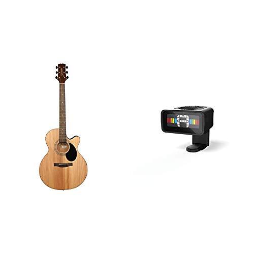 Jasmine S34C NEX Acoustic Guitar & D'Addario Micro Guitar Tuner, Headstock...
