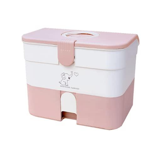 Organizador de medicamentos de plástico para primeros auxilios, caja de almacenamiento de gran espacio para el cuidado del hogar, contenedor portátil (rosa B)