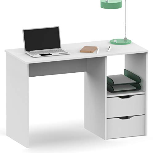 Escritorio mesa oficina estudio eko color blanco 2 cajones 1 hueco moderno 76x115x50 cm