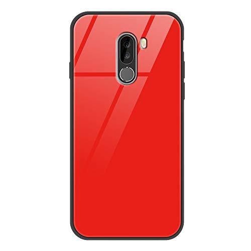 Yoedge Xiaomi Pocophone F1 Funda, Resistente a los Arañazos Carcasa con Dibujos Animados Diseño Bordes en Suave TPU Silicona Híbrida Tempered Vidrio Case para Xiaomi Pocophone F1, Rojo