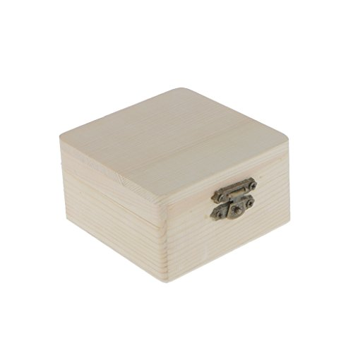 Colcolo Cofre de Té de Madera Sin Pintar con Bolsa de Almacenamiento de Joyas - 8 x 8 x 4.5 cm