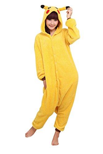 Tier Cosplay Kostüme Tierkostüme Erwachsene Pyjamas Kostüm Schlafanzug Nachtwäsche Kostüm Cosplay Tier Anime Kleid (L, Pikachu)