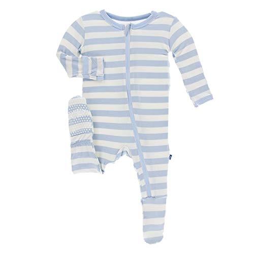 KicKee Pants Little Boys Essentials Print Footie with Zipper - Pond Stripe, 3-6 Months