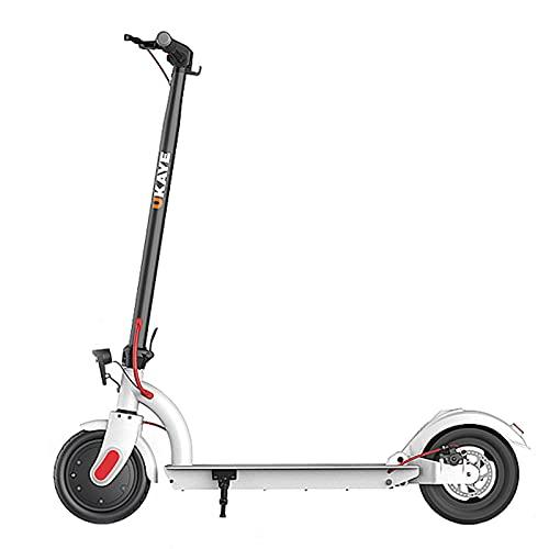 patinetes Scooter Eléctrico, con Pantalla LCD Y Faros Led, Frontal Y Trasero con Diseño De Absorción De Golpes, Montar Más Seguros(Color:Blanco)
