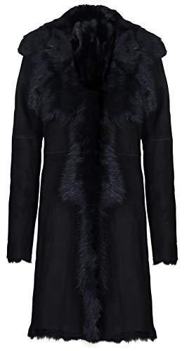 Infnity Leather Damen Schwarz Damen Echt Toscana Schaffell Leder Wildleder Jacke Trenchcoat XL