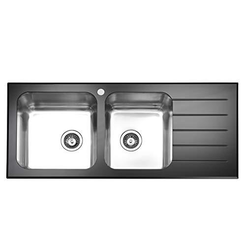 JASSFERRY minimalistisch ontwerp zwart glas top keuken wastafel gepolijst roestvrij staal dubbel 2 kom rechts hand afvoer totaal glanzend Drainboard No-overflow gat