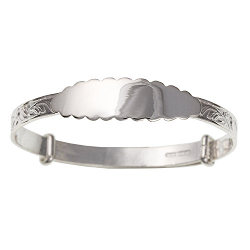 Victorian Foliate Engraved Expanding/Expandable MAIDS/CHILDS/CHILDRENS ID Bangle Bracelet - 925 Sterling Silver