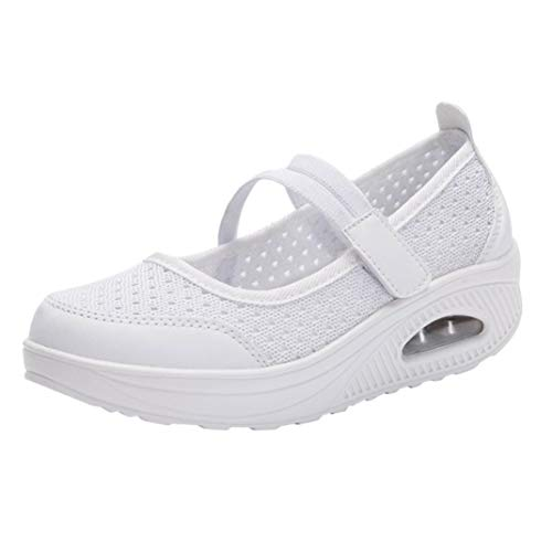 Zapatillas para Mujer Deportivo Verano Plataforma Cuña Merceditas 2018 Moda PAOLIAN Zapatos Casual Talla Grande Señora Calzado Trabajo Dama con Atado al Tobillo Tela Cómodos