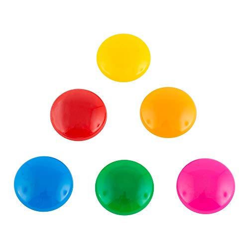 D.RECT 9174 Magnete Haftmagnete für Whiteboard Kühlschrank Magnettafel Magnetwand klein Ø30mm 6 Stück, Mehrfarben