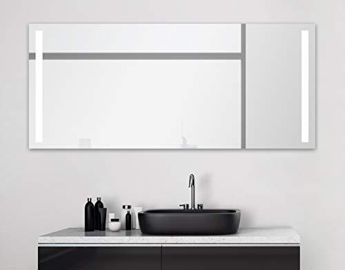 Badspiegel mit Beleuchtung Talos Light - Badezimmerspiegel 160 x 70 cm - mit hinterleuchteten Lichtausschnitten - Lichtfarbe neutralweiß - hochwertiger Aluminiumrahmen mit Kippschalter