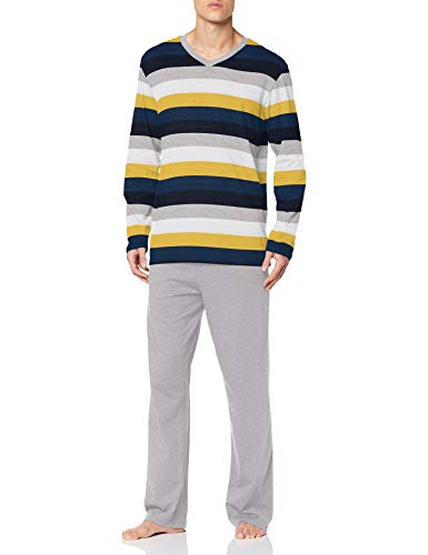 Schiesser Herren-Schlafanzug Single-Jersey grau meliert/Marine/Gold Größe 50