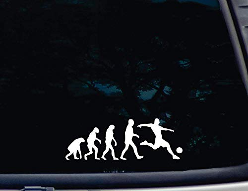 The Evolution of Soccer - Die Cut Vinyl Decal for Windows, Cars, Trucks, Tool Boxes, Laptops, MacBook - Virtually Any Hard, Smooth Surface - 2 Pack 10 Inches at Longest End