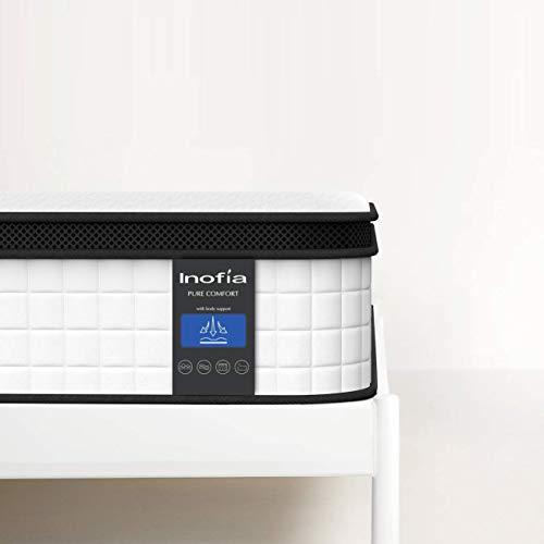 Inofia Matratze 90x200 cm 7 Zonen Matratze H3 Federkernmatratze/Oeko-TEX® 100/Wave Memory Foam & Softgestrick/Elegant Typ/Höhe 27 cm/weiß /100 Nächte Probeschlafen /10 Jahre Garantie