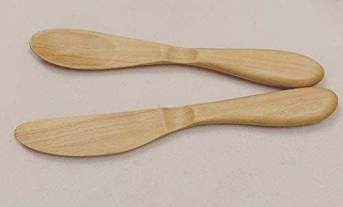 木製 かわいい ナチュラル シンプル バターナイフ &ジャムスプーン 2本セット ツゲ製