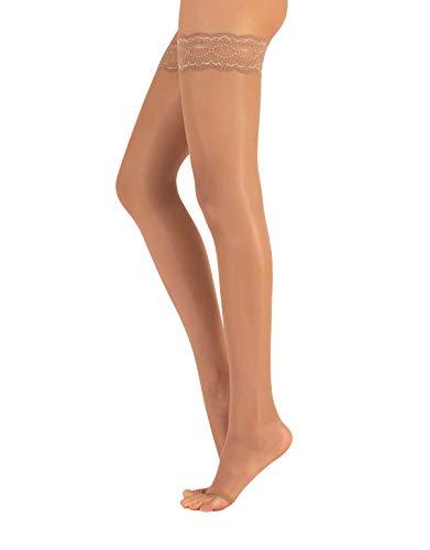 CALZITALY Zehenfreie Halterlose Strümpfe | Open Toe Halterlose Peep Toe | Sommer Feine Halterlose | 10 DEN | S, M, L, XL | Schwarz, Hautfarbe | Made in Italy (L/XL, Hautfarben)