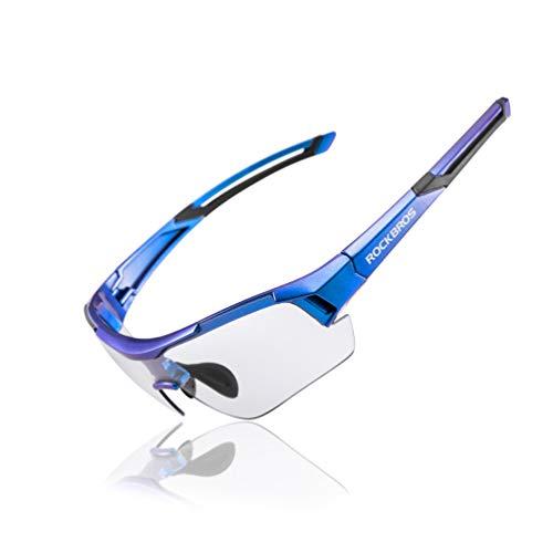 RockBros Cycling Sunglasses Photochromic Bike Glasses for Men Women Sports Goggles UV Protection (Purple Blue)