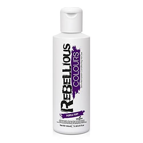 Rebellious Colours Vegan Semi Permanent Hair Dye Colour 100ml (Purple Fury)