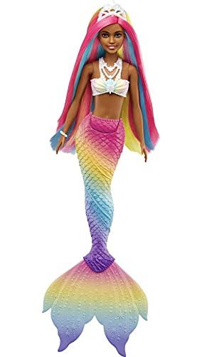 Barbie Dreamtopia Muñeca sirena afroamericana arcoiris mágico, cambia de color en el agua, regalo para niñas y niños +3 años (Mattel GTF90)