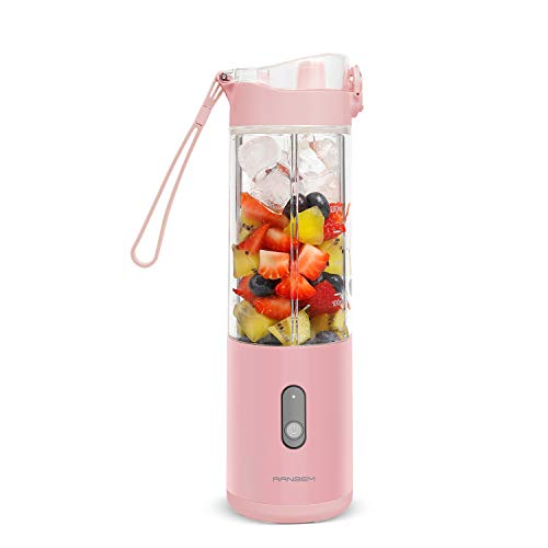 Small Personal Blender for Shakes and Smoothies on the go Single Serve for Travel - for Mixing Fruit Juice, Milk, Small Ice with 13 Oz on the Go Blender Cup (Pink Color Blender, 350ML)