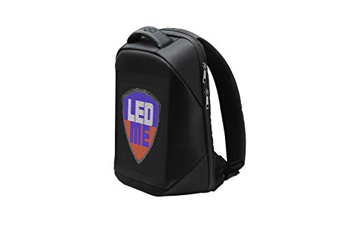 Prestigio LEDme Backpack - Anti Theft Backpack with 64x64 Animated LED Display Panel - Polyester & TPU Bluetooth Backpack - 22-Liter Capacity Laptop Backpack with 10 Pockets - LED Backpack