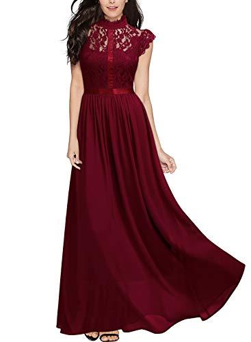 Miusol Vintage Gasa Encaje Fiesta Vestido Largo para Mujer Rojo Small