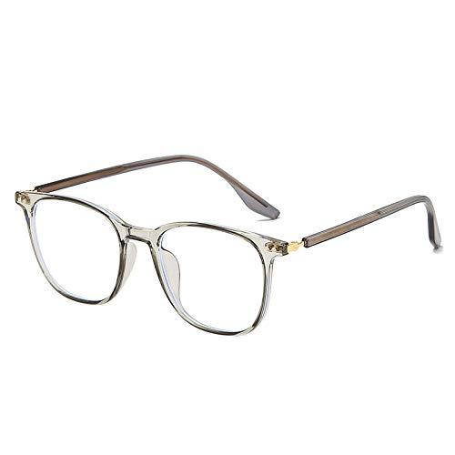 Gafas anti-azules de moda, gafas anti-azules de tendencia para hombres y mujeres, gafas de montura cuadrada-Gris transparente