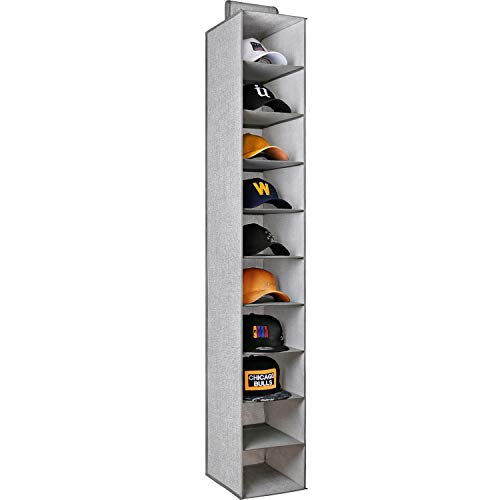 "Criusia Hanging Hat Organizer 10 Shelves, Closet Hanging Organizer for Hat Storage, Foldable Hat Rack 59"" H x 12"" D x 9"" W"