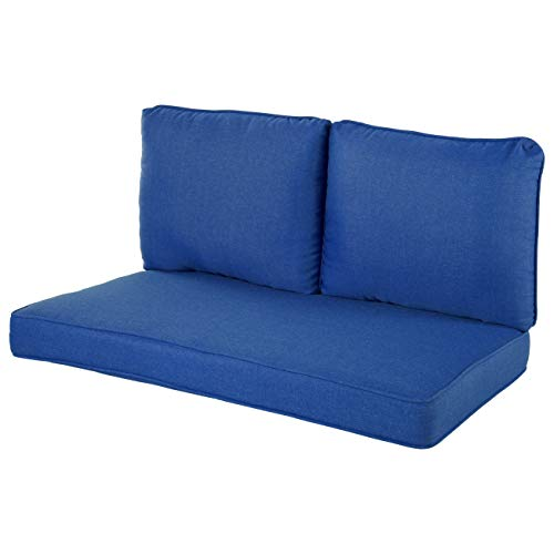 Quality Outdoor Living 29-CB02LV Loveseat Cushion, 46 x 26 3PC, Cobalt
