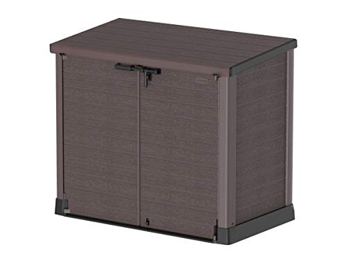 Duramax Cedargrain StoreAway 1200L Plastic Garden Storage Shed / Flat Lid - Outdoor Storage Bike Shed – Durable & Strong Construction– Ideal for Tools, Bikes, BBQs & 2x 240L Bins, 145x85x125 cm, Brown