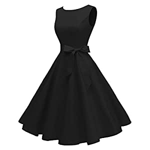 Hanpceirs Women's Boatneck Sleeveless Swing Vintage 1950s Cocktail Dress Black L