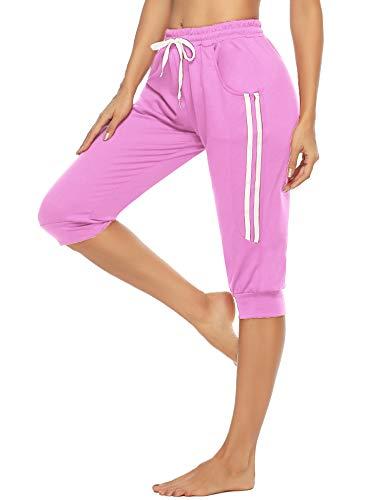 Doaraha Damen Caprihose 3/4 Sporthose Jogginghose Elegant TrainingshoseRelaxhose Yogahose mit Kontraststreifen für Sport und Freizeit, Pink, XXL