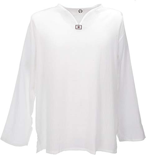 Guru-Shop Yoga Hemd, Goa Hemd, Herren, Weiß, Baumwolle, Size:XXL, Männerhemden Alternative Bekleidung
